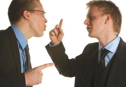 Office men shouting at each other